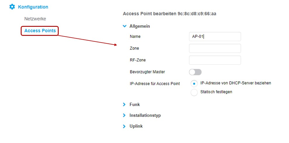 Access Point Einstellungen des Client Dashboards des Aruba Instant WLAN Access Points