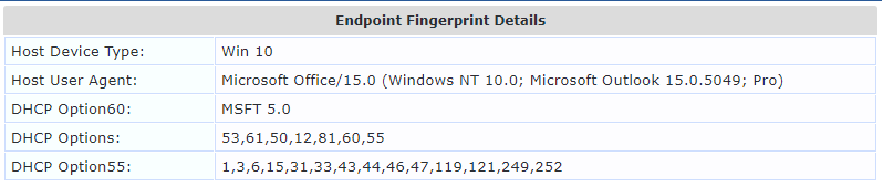 DHCP Fingerprint Windows